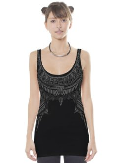 Cleopatra Black Open Back Tank Top