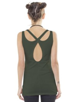 woman open back tank top in oilve with an egyptian print