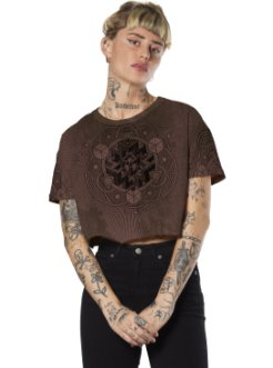 CUBE WOMEN CROP T-SHIRT OCEAN BORDOEUX
