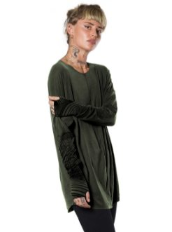 Urban street style long sleeve olive shirt