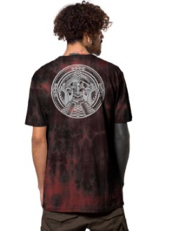 men tie dye t-shirt in black and red with a tribal print