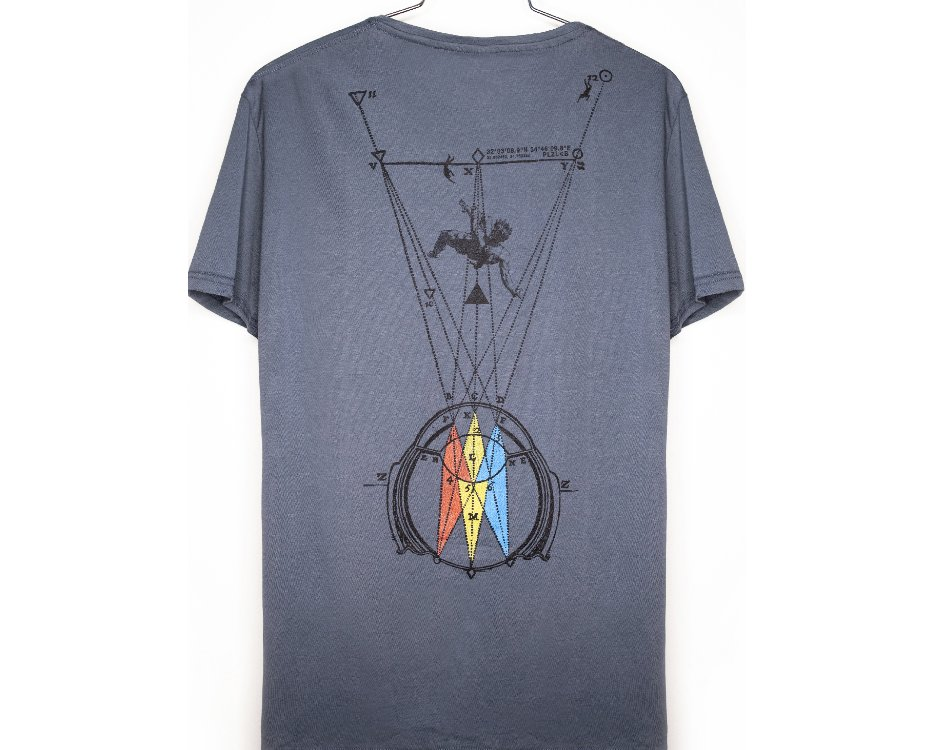 man t-shirt with a Abstract psychedelic eye print