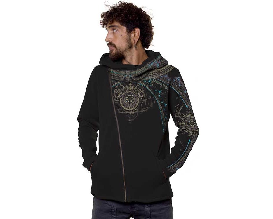 psychedelic hoodie for men with portal design