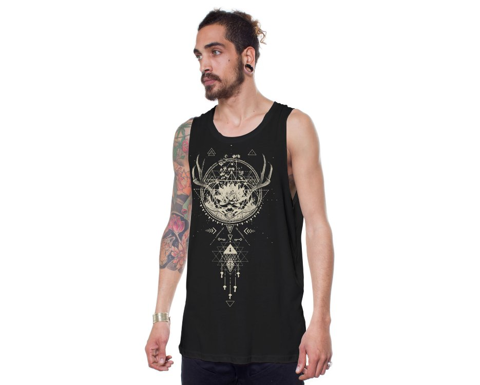 black tank top with a special psychedelic dream catcher design