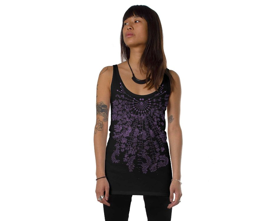 Women open back tank top with a psychedelic print in purple