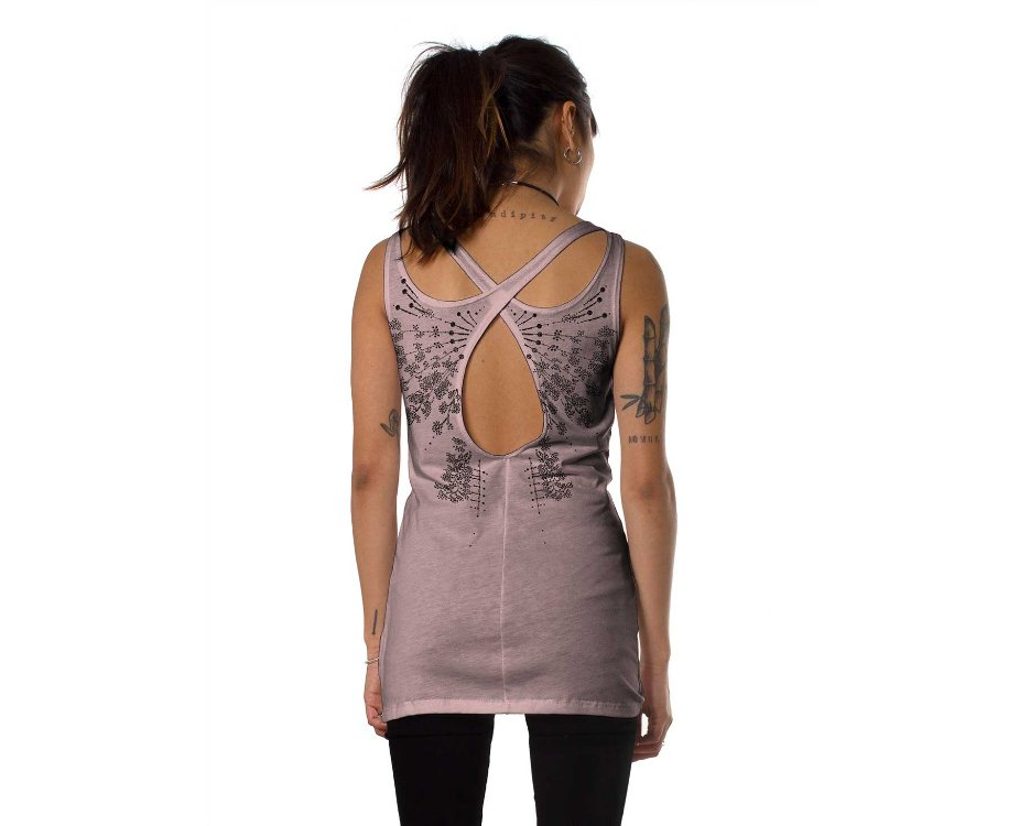 Women open back tank top in beige with a psychedelic print