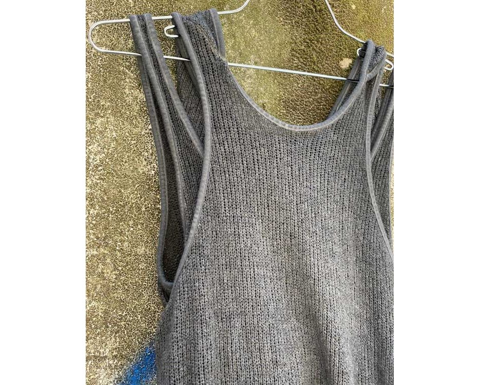 knitted tribal grey top