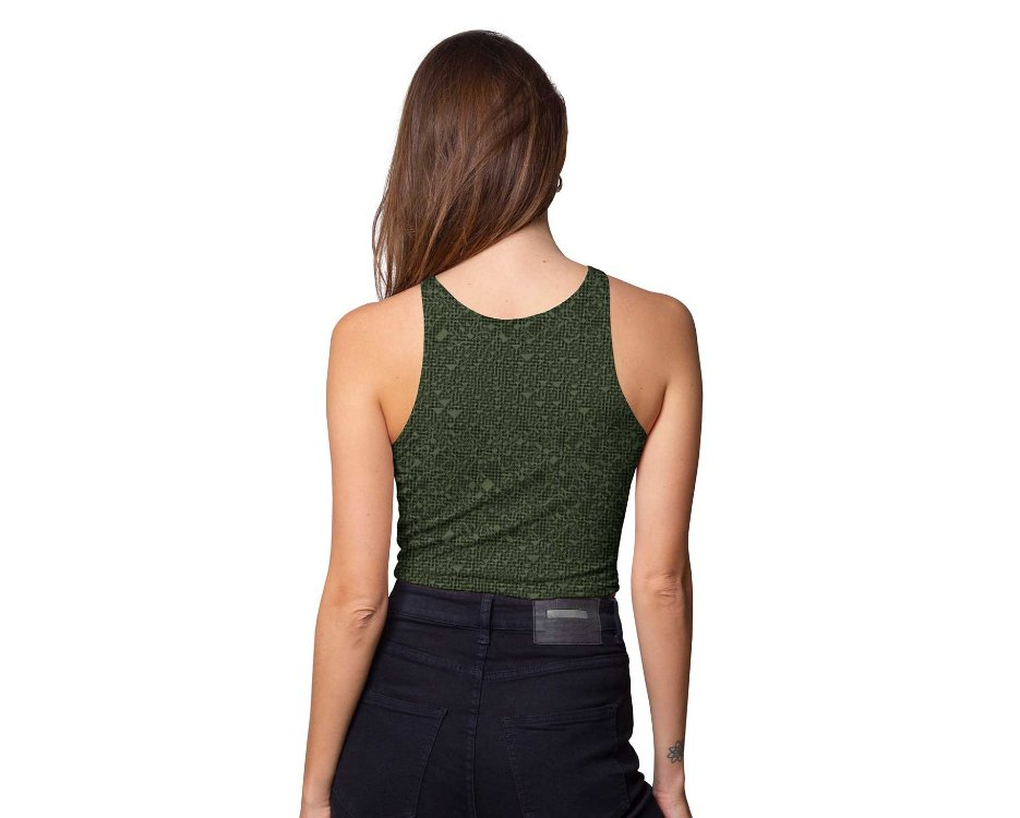 women crop top in dark green with a black abstract print
